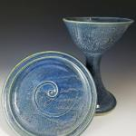 Blue Chalice and Plate Set - $80 Plate: 7.25 in. across Chalice: 8 in. tall 5.5 in. wide SKU - BCPS101