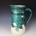 Green White Leaf Detail Pitcher - $105 8.5 in tall SKU DGLP101