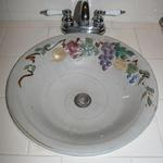 This is a custom sink using the Fruit of the Spirit  in the bowl.Custom sinks average $300.00.